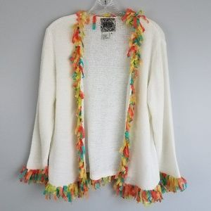 anthropologie M curio colorful fringe sweater M11